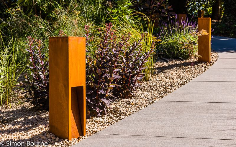 Bespoke Design Corten Steel Light Posts.